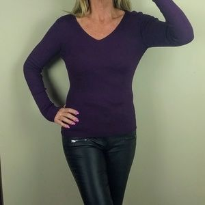 ribbed knit fitted v neck sweater purple long